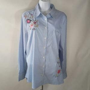 Fall Creek Casual Pinstripe Floral Embroidery Top